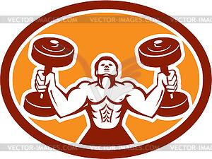 Man Lifting Hantel Gewicht Körperliche Fitness Retro - vektorisierte Grafik