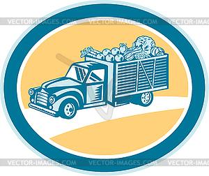 Vintage-Pickup Truck Liefer Ernte Retro - Stock Vektor-Bild