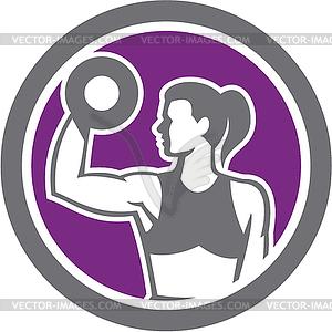 Woman Lifting Hantel Gewicht Körperliche Fitness Retro - Vektorgrafik-Design
