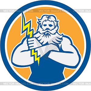 Griechischer Gott Zeus Arme Kreuz Thunderbollt Kreis Retro - Vector-Abbildung