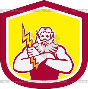 Griechischer Gott Zeus Arme Kreuz Thunderbollt Retro - Stock Vektor-Clipart