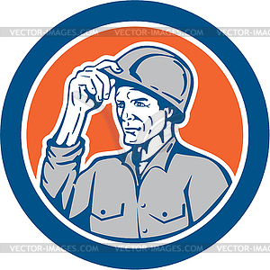 Builder Carpenter Tipping Bauarbeiterhelm Kreis Retro - vektorisiertes Clipart