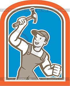 Builder Zimmermann hält Hammer-Schild Cartoon - Vektorgrafik
