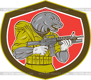 Navy Seal Mit Armalite Rifle Schild - Stock Vektor-Clipart