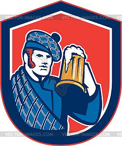 Scotsman Bier-Trinker-Becher Retro-Schild - Vektor Clip Art