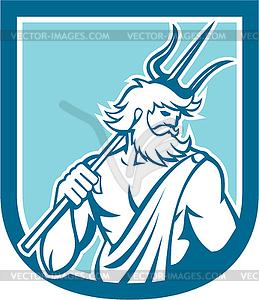 Neptun Poseidon Trident Schild Retro - Vector-Clipart / Vektor-Bild