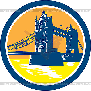 Tower Bridge London Retro Holzschnitt - farbige Vektorgrafik