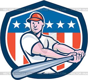 Amerikanischen Baseballspieler Schild Cartoon - vektorisiertes Design