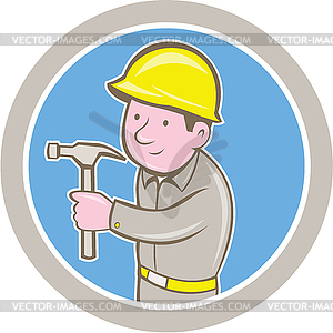 Carpenter Builder Hammer Kreis Cartoon - Royalty-Free Vektor-Clipart