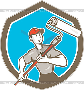 House Painter Paint Roller Schild Cartoon - Vector-Clipart / Vektor-Bild