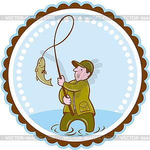 Fliegen-Fischer-Fische auf Rolle Rosette Cartoon - Vector-Clipart / Vektor-Bild