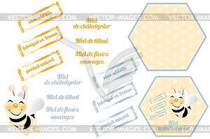 Bienen mit Waben - Vektor-Clipart EPS