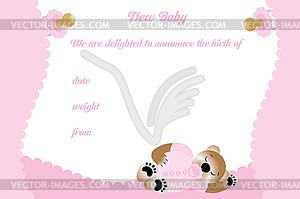 Geburtstagskarte für Mädchen mit niedlichen Bären - Clipart-Bild