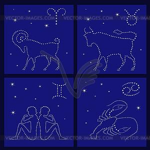 Vier Tierkreiszeichen: Widder, Stier, Zwillinge, Krebs - Vector-Clipart EPS