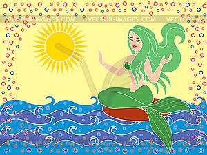 Meerjungfrau auf Wellen - Vector-Bild