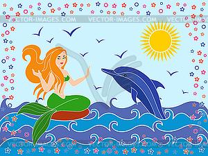 Delphin und Meerjungfrau im Meer Wellen - Stock-Clipart