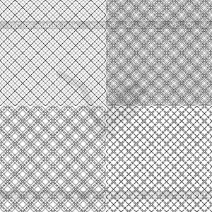 Vier Netz nahtlose Muster mit gestrichelten Linien - Vektor-Clipart / Vektor-Bild