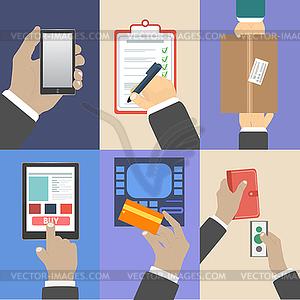 Set von Business Hände Handlungskonzepte - vektorisierte Grafik