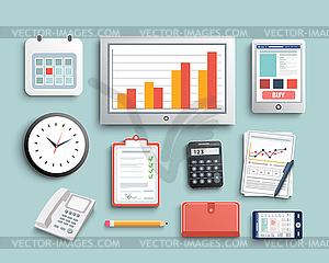 Arbeitsplatz Büro-und Geschäftsarbeitselemente Set - farbige Vektorgrafik