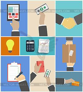 Set von Business Hände Handlungskonzepte - Vektor-Clipart / Vektorgrafik