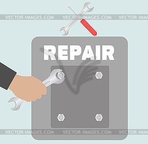 Hand mit Schraubenschlüssel. Reparatur-Symbol - vektorisiertes Design