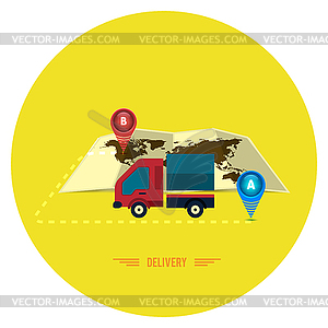 Lieferservice 24 Stunden. Cargo-LKW-Symbol - Vektorgrafik-Design