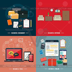 Business-Tools, Innen-, Online-Dokumente - Vektorgrafik-Design