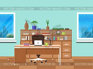 Moderne Büro-Interieur mit Designer-Desktop - vektorisierte Grafik