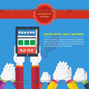 Responsive Web-Design-Konzept - farbige Vektorgrafik