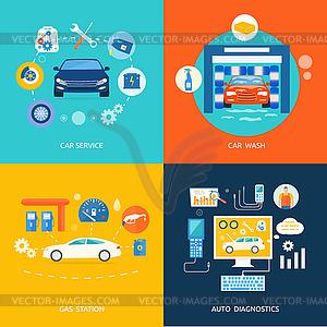 Auto-Waschanlagen-Tankstelle Autodiagnose - vektorisiertes Design
