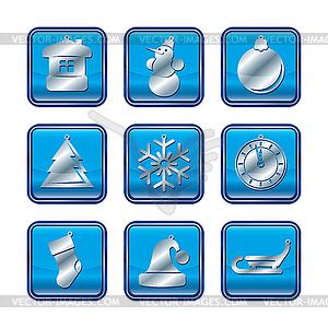 Neujahr Weihnachten rot gold Icon-Set - Vektor-Abbildung