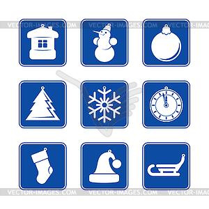 Neujahr Weihnachten rot gold Icon-Set - Vector-Abbildung