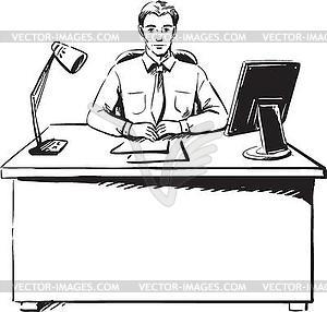 Geschäftsmann sitzt an seinem Schreibtisch im Büro - Vektor-Skizze