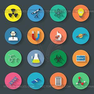 Wissenschaft Flach Symbole Set - vektorisiertes Design