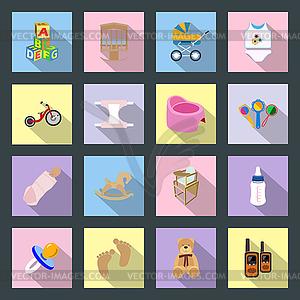Baby-und Kinder-Flach Symbole Set - Vektorgrafik-Design