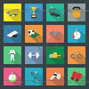 Sport Flach Symbole Set - vektorisiertes Bild
