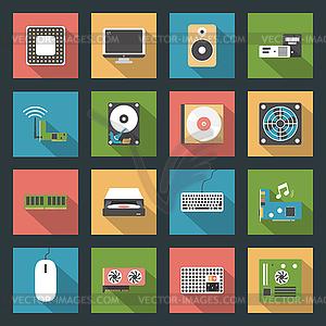 Computer-Peripheriegeräte und Teile Flach Symbole Set - farbige Vektorgrafik