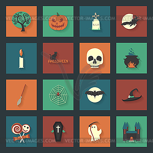 Halloween Flach Symbole Set - Vektor-Clipart / Vektor-Bild