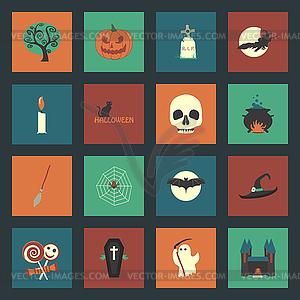 Halloween Flach Symbole Set - Vektor-Clipart / Vektorgrafik