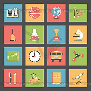 Schule Flach Symbole Set - Vector-Clipart EPS