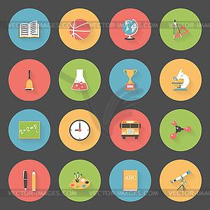Schule Flach Symbole Set - Vektorgrafik-Design