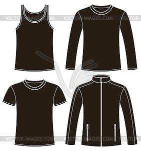 Singulett, T-Shirt, Langarm-T-Shirt und Jacke - Clipart-Design