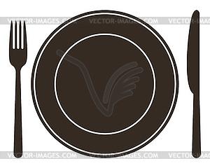 Legen Sie mit Teller, Messer und Gabel - Vector-Clipart