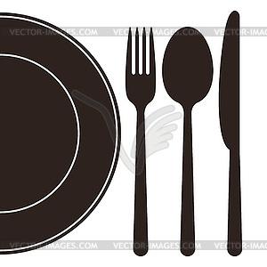 Teller, Gabel, Löffel und Messer - Vektor-Clipart EPS