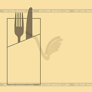 Messer, Gabel und Serviette auf gelbem Hintergrund - vektorisierte Grafik
