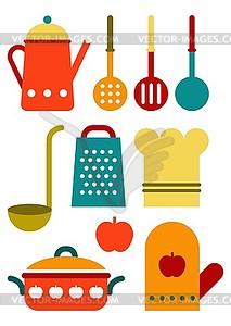 Bunte Küchenhelfer-Set - Vektorgrafik-Design