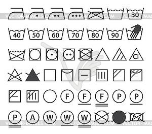 Set von Wasch-Symbole (Icons Wäscherei) - Vektor-Illustration