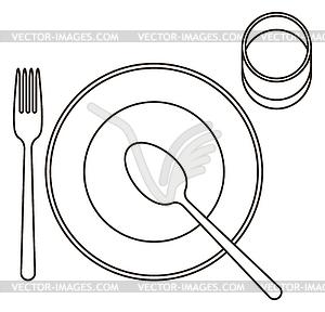 Legen Sie mit Teller, Löffel, Gabel und Glas - vektorisierte Abbildung