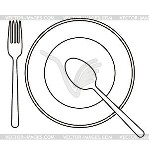 Legen Sie mit Teller, Löffel und Gabel - vektorisiertes Clipart