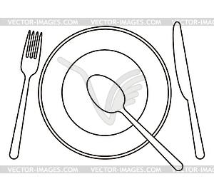Legen Sie mit Teller, Messer, Löffel und Gabel - vektorisierte Grafik